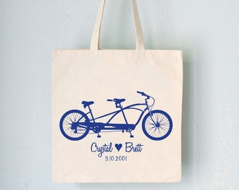 Custom Wedding Tote - Tandem -  bicycle artwork with names date and heart on natural bag