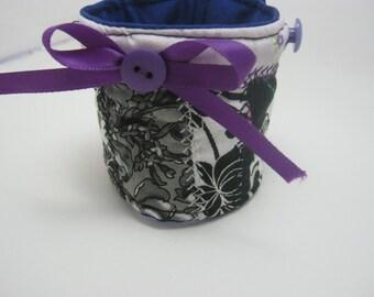 Gypsy Patchwork, Black and White, Purple Fiber Fabric Bracelet Cuff