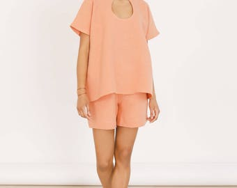 Coral hemp top - Sustainable hemp clothing - Pastel clothing