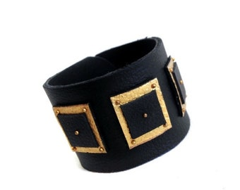 """50% OFF SALE Fashion leather cuff bracelet. Black and gold color Leather jewelry Wristband """"Geometry of Metamorphose"""" collection"""
