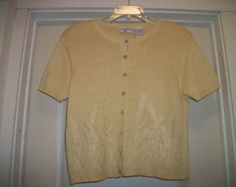 Vintage 1980s Kathy Ireland SWEET Light YELLOW Wheat SWEATER,  Shoulder Pads, Linen & Rayon, Pearly Buttons, M
