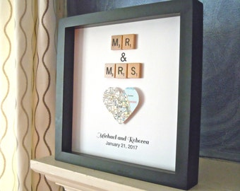 Couples Scrabble Art, Mr and Mrs, Vintage Scrabble Tiles, Wedding Gift, Black 8x8 inch Shadowbox Frame,  Anniversary Gift, Gallery Wall Art