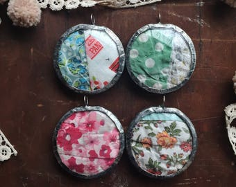Grandma's Hands:  salvaged vintage quilt soldered glass lens pendant