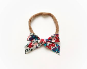 Teal, Purple, Red and Pink Floral Mini Fabric Bow Headband | Baby Girl Nylon Headbands | Tiny Tied Bias Tape Bows