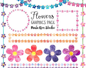 Watercolor Flower Clip Art, Digital Download, Spring Floral Clipart, Commercial Use