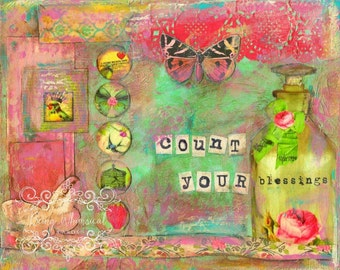 ART PRINT - Count Your BLESSINGS Mixed Media Whimsical Art print A4 size Free local postage