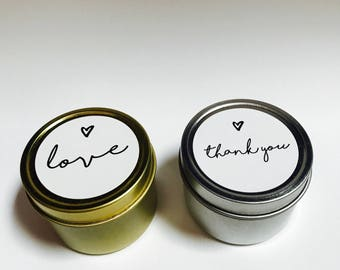 50 wedding favour soy candles |  Petite soy candle tin