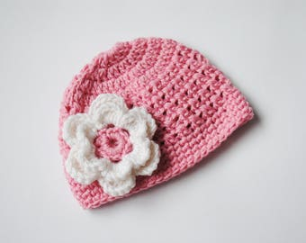 Crochet Baby Hat, Newborn Beanie, Baby Girl Hat, Newborn Flower Hat, Crochet Hospital Hat, Newborn Crochet Hat, Baby Beanie, Coming Home Hat