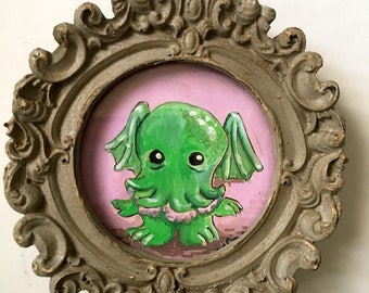 Baby Cthulhu Framed mini-painting, gouache, approx 3 inches tall
