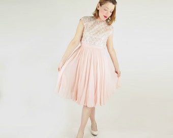 60s Blush Pink Silk Chiffon Dress with Heavily Beaded Bodice by Pat Sandler S