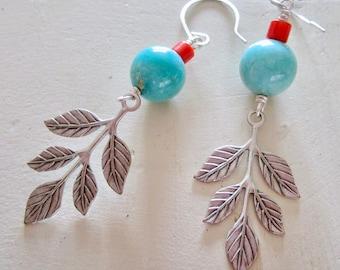 Vintage Turquoise & Coral Raspberry Leaf Belle Fleur Earrings - Silver - Etsy Jewelry - catROCKS - Grace frankie - Blue - Red - Spring