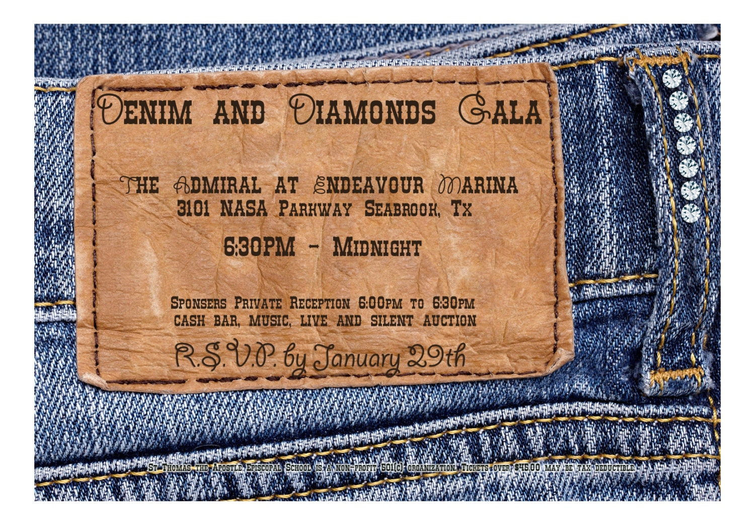 Denim and Diamonds Invitation
