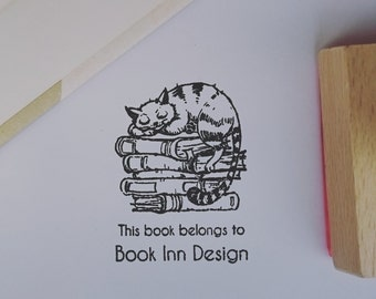 Exlibris - Personalised Book Stamp - Cat on Books