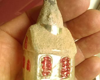 German Christmas Ornament Glass House Vintage 1940's