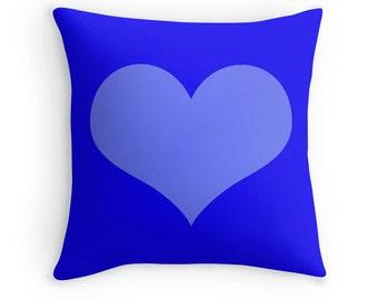 Blue Heart Pillow, Blue Nursery, Blue Heart Toss Pillow, Blue Heart Decorative Pillow, Blue Room Decor, Baby Boy Nursery, Blue Throw Pillow