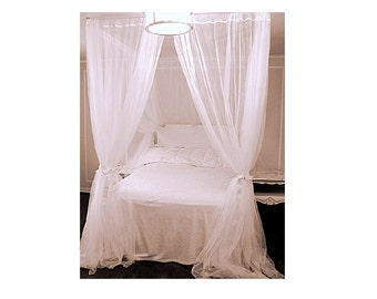 King Size Bed Canopy With Chiffon Curtains   Four Poster Bed Accessory  Curtained Decor Sheer Princess