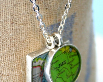 GirlFriend Map Pendants, Custom Order Map Jewelry, You Name the Cities, Brushed Matte Finish, Square and Round Map Pendant