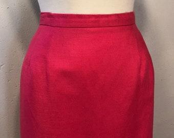 Chaus linen rayon hot pink skirt fushia summer skirt 80s pink skirt