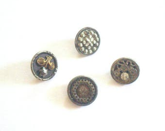 Steel Cut Buttons Lot x 4 Victorian 1800s