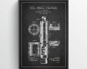 1904 Oil Well Packer Patent Wall Art Poster, Oil Drilling Poster, Oil Drilling Art Print, Texas Art, Home Decor, Gift Idea, PFEN20P