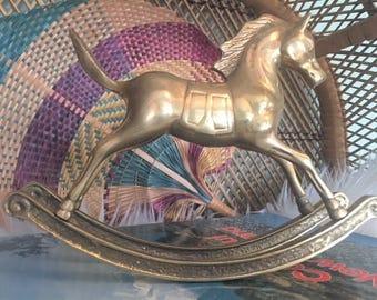 Vintage Brass Rocking Horse Figurine