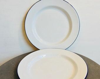 Vintage blue and white set of two enamel plates - vintage camping - enamelware