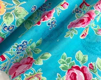 Bright Blue Floral Paisley Cotton Fabric from the Flower Sugar Wind Spring 2017 Collection by Lecien Fabrics