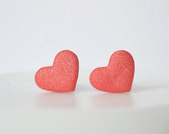 Coral studs Red Heart studs coral heart earrings heart studs heart posts love jewelry Valentine's day gift valentines day earring minimalist