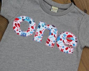 BBQ First Birthday Shirt, One Shirt, Owl Birthday Shirt, Ready to Ship 12 Months, Fourth of July Birthday Shirt, Summer First Birthday Shirt