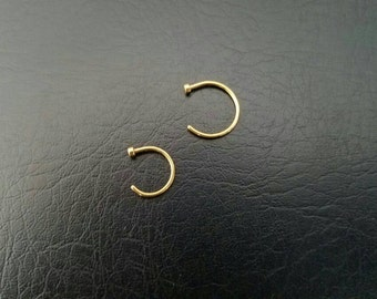 """Gold 18g 5/16"""" 3/8"""" Nose Ring Nose Hoop Handmade Nostril Ring Nostril Hoop Delicate Dainty Rings 316lvm Stainless Steel Gold IP"""