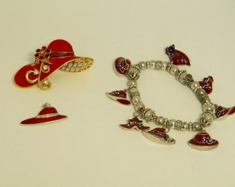 Red Hat Society Brooch, Pendant and Bracelet