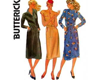 Butterick 6787 Womens Mock Wrap Asian Influence Shirtdress 0s Vintage Sewing Pattern Size 14 Bust 36 inches UNCUT Factory Folded