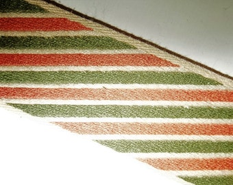 "Reversible Tapestry Ribbon Trim Sage Green Salmon Stripe Conso Woven 4 Yards Long 2"" Wide Woven Jacquard"