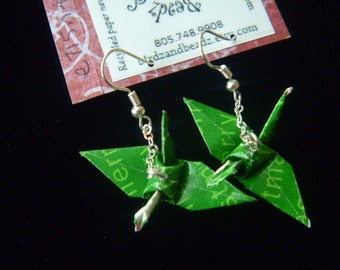 Green Crane-Dangle earrings ~ FREE SHIPPING ~ wrapping paper recycled-upcycled-repurposed-reclaimed #e715 marlisa origami