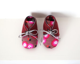 "Little leather baby shoes and cotton 3-6 months ""Anaïs"""