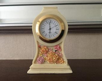 """Vintage """"Ivory Garden"""" Clock"""