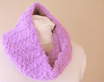 Purple Chenille Cowl - Crochet Purple Fleece Circle Scarf