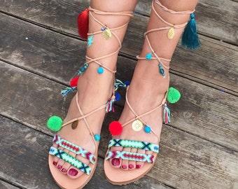Pom Pom Sandals ''Tahitian Paradise'', Tie Up Boho Sandals, Greek Leather Sandals, FREE  Worldwide SHIPPING