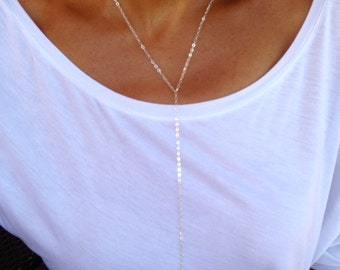 Sterling silver lariat with a clear Swarovski crystal drop- Hand made- Long lariat necklace