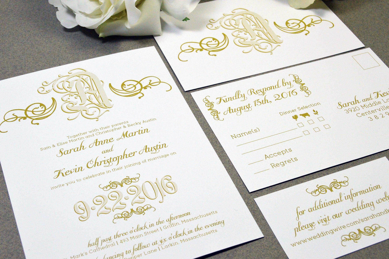 Calligraphy Wedding Invitations: Monogram Wedding Invitations Swirl Invites Calligraphy Script