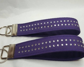 Purple fob,  rhinestones key chain, wristlet, single, gifts under 10