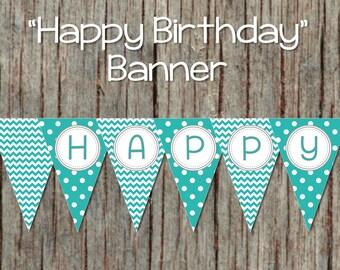 Aqua Grey Instant Download Boy Happy Birthday Banner diy Digital Party Decorations Pennant Banner 044