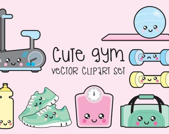 Premium Vector Clipart - Kawaii Workout Clipart - Kawaii Gym Clip art Set - High Quality Vectors - Instant Download - Kawaii Gym Clipart