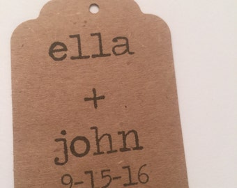 Set of 24 Kraft Personalized Typewriter  Wedding Favors Bridal Shower Gift Tags Favor Tags