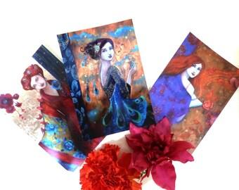 Romantic and boho women postcards x 3.