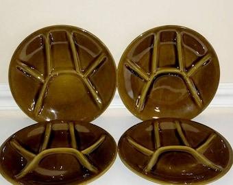 Vintage Fondue Plates, Keralux Divided Plates, Sushi Plates, Boch Freres, Set of 4, Ceramic Divided Plates, Mid Century, Belgium, 1950s