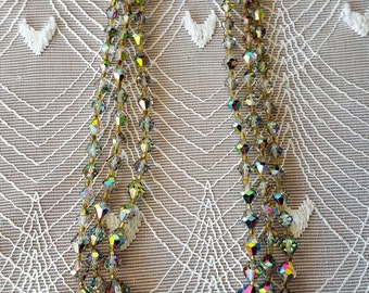 Stunning 3 Strand 1950s Carnival Glass Necklace - Aurora Borealis - Serious Sparkle!
