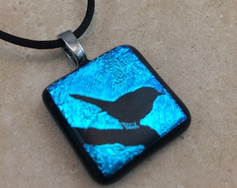 Bird on Branch Necklace, Bird Pendant, Teal Blue Dichroic Pendant, Fused Glass Jewelry, Dichro Glass Jewelry, Dichroic Pendant - HEA502