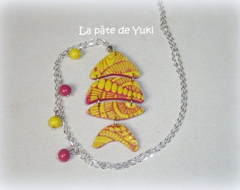 Pink yellow fish hand made polymer clay necklace