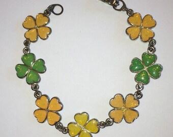 Vintage Silver Tone Four Leaf Clover Bracelet, Lucky Irish Charm for St Patrick's Day